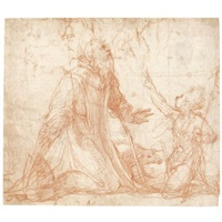 saint anthony abbot kneeling, the young st. john the baptist beside him by nicolo dell' abbate