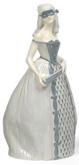 dame mit maske und fächer by joseph breitner