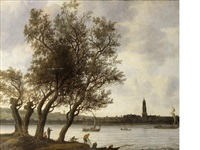 view of rhenen from the south bank of the nederrijn by anthony jansz van der croos