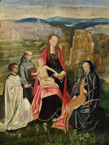 madonna mit kind umgeben von heiligen in einer weiten landschaft by hans memling
