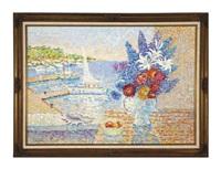 bouquet aux fleurs devant le port by jeanne selmersheim-desgranges