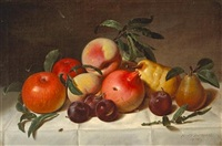 still life with plums, pears, pomegranates, and apples by peter baumgras