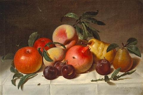 still life with plums pears pomegranates and apples by peter baumgras