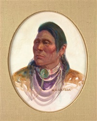 native man with necklace portrait by steve seltzer