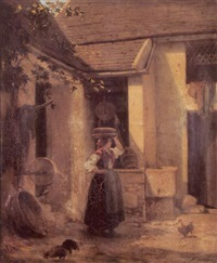 jeune fille à la fontaine by maurice cottier
