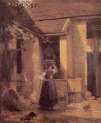 jeune fille à la fontaine by maurice cottier
