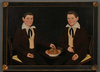 double portrait of the ten broeck twins, jacob wessel ten broeck (1823-1896) and william henry ten broeck (1823-1888), aged 10 years, seated... by ammi phillips