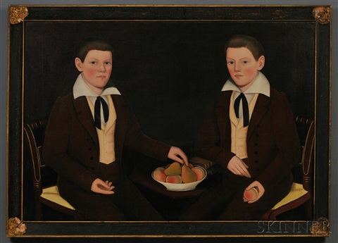 double portrait of the ten broeck twins jacob wessel ten broeck 1823 1896 and william henry ten broeck 1823 1888 aged 10 years seated by ammi phillips
