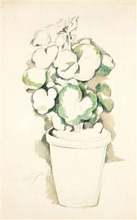 pot de géraniums by paul cézanne