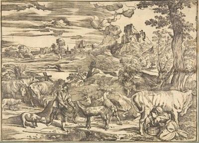 die landschaft mit der kuhhirtin after tizian by niccolo boldrini