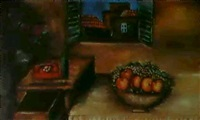 interieur avec telephone, bouteille et bouquet de fleurs by ketty balletti notarbartolo di sciara