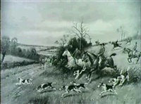 a hunt crossing a country road by g. w. wright