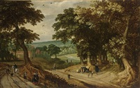 an extensive wooded landscape with elegant figures walking and resting together with sportsmen and their dogs, a town beyond by willem van den bundel