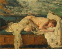 sleeping female nude by julius paulsen