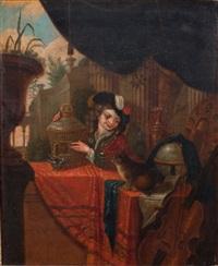 l'enfant, la cage a oiseaux et le chien by frans van mieris