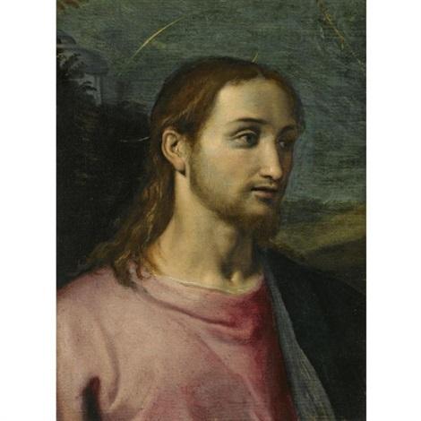 head of saint john in a landscape by jacopo (da empoli) chimenti