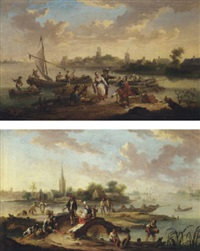 a river landscape with traders and townsfolk by a ferry, a windmill in the distance by henri-joseph antonissen