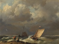 fishing boats in stormy water by hermanus koekkoek the elder