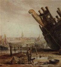 fishermen sorting their catch at low-tide by samuel austin