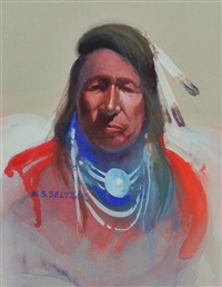 indian portrait with red shirt by steve seltzer