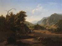 paysage montagneux méditerranéen animé d'un homme à cheval et d'un couple de femmes près de l'abreuvoir by joseph quinaux