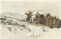 fahrweg am eichenwald, ein bergzug in der ferne (path through an oak forest) by karl blechen