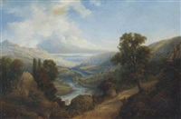 view of dunkeld, on the river tay, perthshire by joseph william allen