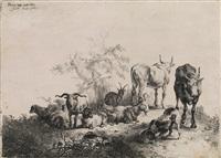 die landschaft mit der herde und dem milchmädchen (after pieter van laer) by jan van noordt