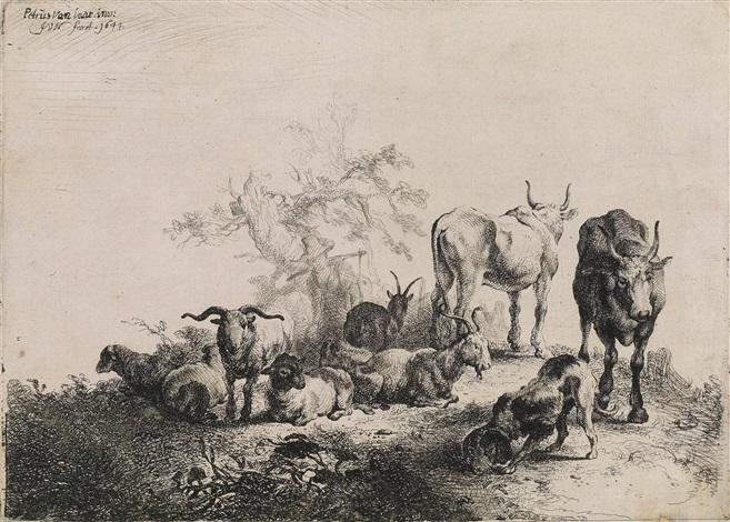 die landschaft mit der herde und dem milchmädchen after pieter van laer by jan van noordt