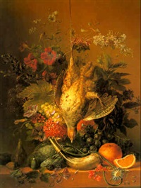 still life with flowers, fruit and dead game by arnoldus bloemers
