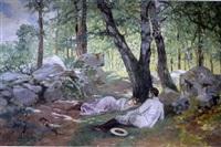 couple conversant au pied d'un arbre by marius barthalot