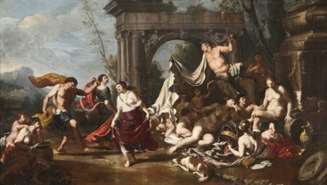 danse de satyres de nymphes et bacchanale pair by johann heiss
