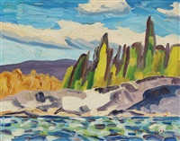 white caps against rocky shore by arthur george lloy