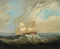 a frigate in stormy waters, table bay by john thomas baines