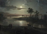 evening scene with full moon and persons by abraham pether
