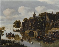 a river landscape with a village in the foreground and figures drinking outside an inn by e. ruytenbach