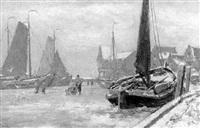 haven van volendam by gerardus johannes koekkoek