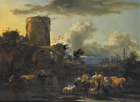 an evening landscape with drovers and their animals by a river by nicolaes berchem