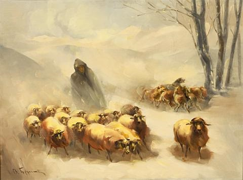 shepherd with herd by vasilis germenis