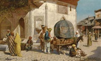 a bread merchant before an ottoman fountain, constantinople by robert gillar