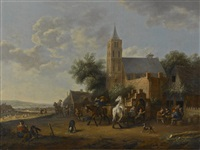 a village church and tavern with figures by barend gael