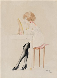woman in boudoir by geza farago