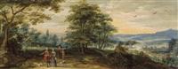 paysage panoramique avec promeneurs et scène de chasse by flemish school-antwerp (17)