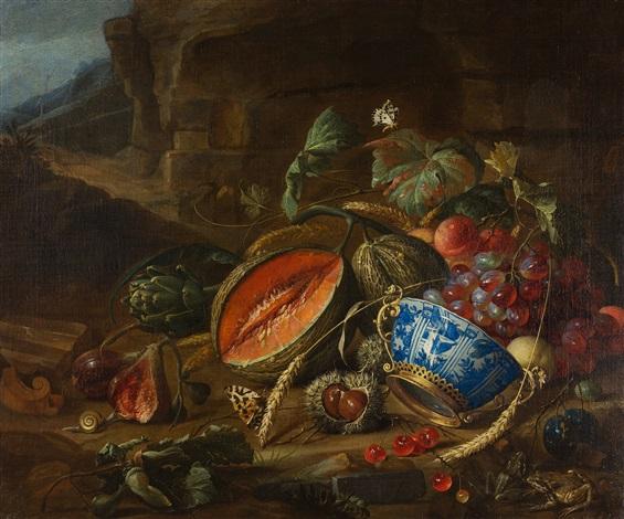 früchtestillleben mit einer wan li schale in einer landschaft by cornelis de heem