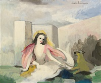 sirène avec animal by marie laurencin