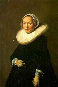portrait of a woman wearing a black dress with lace cuffs, holding gloves by frans franszoon hals the younger