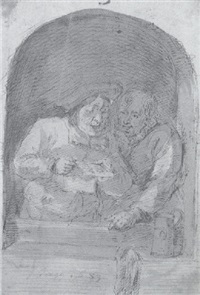 two men singing at a window by matthijs van den bergh