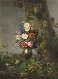 a still life of flowers in a landscape, a town in the distance by johannes ludwig camradt
