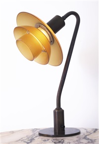 ph table lamp, with type 2/2 shades by poul henningsen