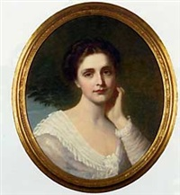 portrait of a lady in a white dress by william lucas